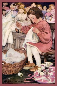 Girl Sewing Doll Clothes 1925 by Jessie Willcox Smith. Quilt Block printed on soft cotton sateen. Ready to Sew.  We offer more than 5,000 vintage quilt blocks for sale on our two web sites; OldeAmericaAntiques.com and AmericanQuiltBlocks.com.