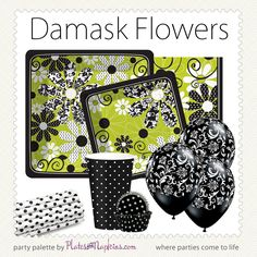 Damask Flowers designer plates u0026 napkins party supplies #damask #modern  sc 1 st  Pinterest & Finley Damask - Party at Lewis Elegant Party Supplies Plastic ...