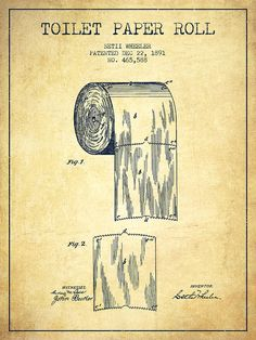 Toilet Drawing - Toilet Paper Roll Patent Drawing From 1891 - Vintage by Aged Pixel