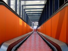 https://flic.kr/p/6E4WwP | zollverein - the orange abyss | Zollverein Coal Mine Industrial Complex (from Wikipedia, the free encyclopedia)  Escalator from the Visitor Centre (former Kohlenwäsche/Coal Washing)   explored: Highest position:  #272 on Monday, July 13, 2009   The Zollverein Coal Mine Industrial Complex is a large former industrial site in the city of Essen, North Rhine-Westphalia, Germany. It has been inscribed into the UNESCO list of World Heritage Sites since December 14, 2001…