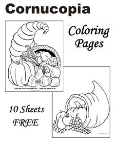 Keep the kiddos entertained and in the holiday spirit with theses 10 FREE Thanksgiving Coloring Pages. Fruit Coloring Pages, Preschool Coloring Pages, Fall Coloring Pages, Pattern Coloring Pages, Printable Coloring Pages, Free Coloring, Coloring Sheets, Thanksgiving Cornucopia, Thanksgiving Projects