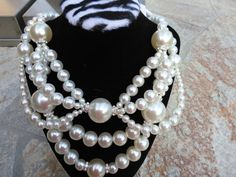 Perfect Wedding Pearl and Bubble Super Chunky Bib Statement Necklace Chanel Inspired by BlingBeadedBaubles, $125.00 USD