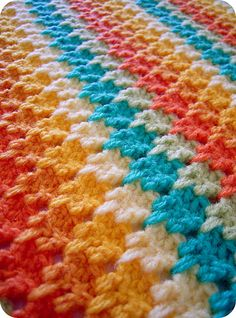 crochet blanket, larksfoot stitch. No tutorial
