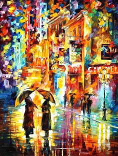 RAINY ENCOUNTER - Original Oil Painting On Canvas By Leonid Afremov http://afremov.com/TEA-TIME-Original-Oil-Painting-On-Canvas-By-Leonid-Afremov-30-X40-SKU18893.html?utm_source=s-pinterest&utm_medium=/afremov_usa&utm_campaign=ADD-YOUR