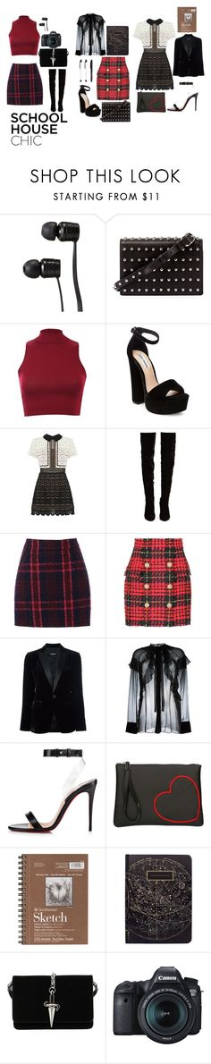 """School House Chic"" by disney-geek-forever ❤ liked on Polyvore featuring Vans, Alexander Wang, Pilot, Steve Madden, self-portrait, Christian Louboutin, Oasis, Balmain, Dsquared2 and Givenchy"