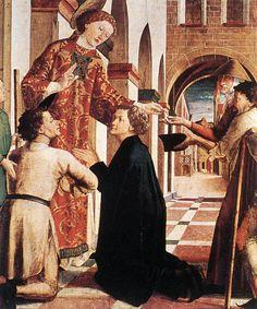 São Lorenzo Distribuindo os Bens da Igreja para os Pobres,  Michael Pacher, 1465-70, Munich