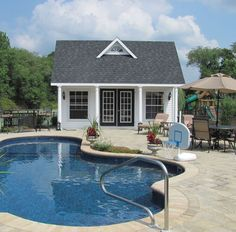 Check out the mini dormer on this Kloter Farms pool house - it adds such character. What a fun place to entertain guests or relax! #kloterfarms #poolhouse #patio Pool House Shed, Pool House Plans, Backyard Pool Landscaping, Patio, Outdoor Living, Outdoor Decor, Outdoor Furniture, Bedroom Furniture, Small Pool Houses