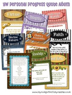 LDS/YW Value Quote Album... one quote for every Value and Value Experience.  Over 60 cards in all - free if you just ask!