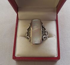$22.00 Silver Inlay Mother of Pearl Ring (91215-1477MS) jewelry, fashion, collectibles #Unbranded #Cocktail