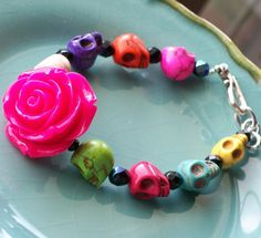 Sugar Skull Jewelry Day of the Dead Hot PInk Rose