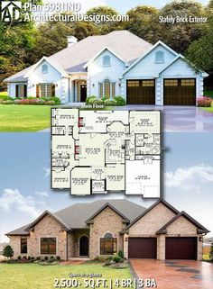 Architectural Designs House Plan gives you 4 beds, 3 baths, and has a classy brick exterior. Where do YOU want to build? - Home Decor New House Plans, Dream House Plans, House Floor Plans, Home Design Floor Plans, Architectural Design House Plans, Architecture Design, Building Plans, Building A House, House Blueprints