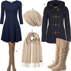 Elegantes Outfit für Frauen mit Kleid und Dufflecoat (w0878) #kleid #stiefel #schal #elegant #outfit #style #fashion #womensfashion #womensstyle #womenswear #clothing #frauenmode #damenmode #handtasche  #inspiration #frauenoutfit #damenoutfit