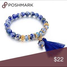 Natural stone bohemian bead bracelet with tassel Blue natural lapis lazuli beads bracelet. 8mm stone. With tassel and decor beads Jewelry Bracelets