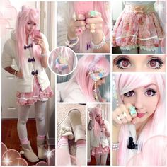 pink hair, white cardigan, pink skirt, white stockings, pink boots, ice-cream accessories