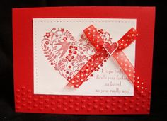 Valentine White and Red hand made card dove heart ribbon by Wcards, $3.00
