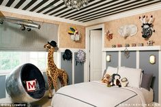 Safari theme: Three-year-old Mason has a safari theme in the Calabasas home and who knows what his mother will chose for their new house