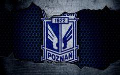 Download wallpapers Lech, 4k, logo, Ekstraklasa, soccer, football club, Poland, grunge, Lech Poznan, metal texture, Lech FC