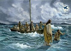 Jesus Christ Walking On The Sea Of Galilee. Painting - Christ Walking On The Sea Of Galilee Fine Art Print Bible Pictures, Religious Pictures, Jesus Pictures, Religious Art, Religious Paintings, Sea Of Galilee, Jesus Painting, Painting Art, Jesus Christus