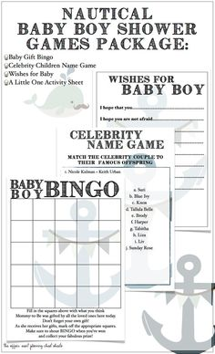 Nautical Themed Baby Boy Shower Game Package - DIY Printables -Bingo, Celebrity Baby Game, Wishes for Baby and Activity Sheet for LittleOnes