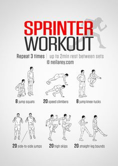 Improve your running speed with the Sprinter Workout. The routine can be done indoors as well as outdoors (High Skips & Straight-Leg Bounds). Sprinting is broken down into three stages: explosion, acceleration, deceleration. In terms of the Softball Workouts, Running Workouts, Sprinting Workouts, Agility Workouts, Plyometrics, Calisthenics, Track Workouts For Sprinters, Running Drills, Volleyball Tips