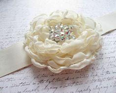 Bridal Sash Ivory Bridal Sash Wedding Belt Bridal by DesignByThyll