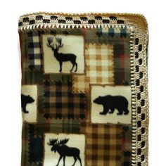 Wildlife Fleece Blanket Checkered Crochet Edge,Moose,Elk,Bear,and Caribou,Large Elegant Throw,Decor,Housewarming,Hand-Stitched, Gift for Him by AllSylviasCreations on Etsy
