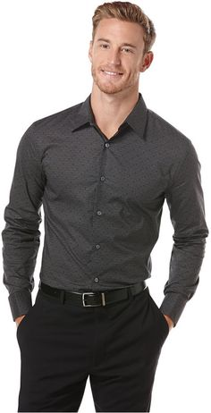 gray patterned oxford. black pants. black belt. easy. classic/modern. sleek. dapper. essential. style.