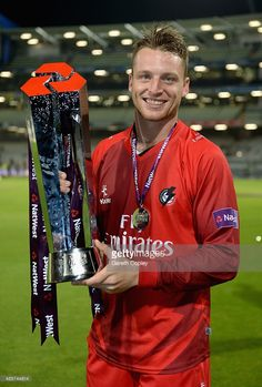 Jos Buttler of Lancashire celebrates winning the NatWest Blast Final between Lancashire Lighting and Northamptonshire Steelbacks at Edgbaston on August 2015 in Birmingham, England. Cricket Books, Cricket Poster, World Cricket, Neymar Jr Hairstyle, England Cricket Team, Engineers Day, Wwe Pictures, Cricket Wallpapers, Dhoni Wallpapers