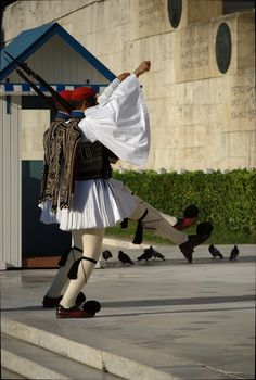 """Presidential watch"" Athens  Greece, we all thought the pom poms on their feet were funny"