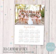 Wedding 2014 Calendar  - Photoshop template - AP005 - INSTANT DOWNLOAD