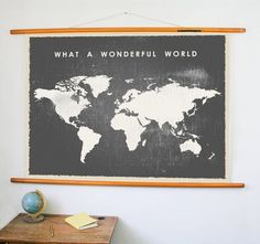 What+a+Wonderful+World+Map+Printable+World+Map+Big+by+DIYwallART can change color & font & text if you want. You print it. Get it printed on a canvas? World Map Printable, Map Globe, What A Wonderful World, Kidsroom, Print Poster, Portfolio Design, Wonders Of The World, Vintage Posters, Color Change