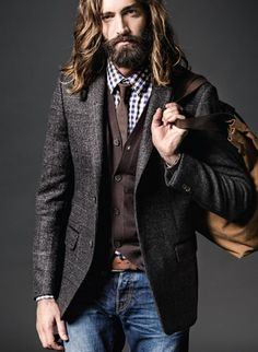 Nice to see long beard/hair combined with decent clothes for once. Bearded men can dress well, too.