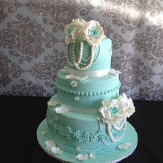 Duck egg blue with ivory pearls