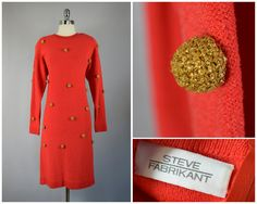 vtg 80s crimson and gold sphere knit dress by PinkhamRoadRetro