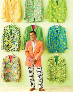 """Vintage men's Lilly Pulitzer clothing. """"The first Lilly that I found was in a thrift shop in the '70s. But I mixed it with glam-rock clothes. I think it was a shirt with monkeys on it, and I wore it with red patent-leather pants.''  The menswear was big on the golf scene.'' """"Bathrobes are really hard to find, and they're so wild. Can you imagine the man who wore one? I'm sure he didn't buy it. I'm sure his wife gave it to him.''   These clothes make me laugh. They make me happy.''"""