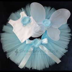 Baby Blue Tutu and Fairy Wings Set