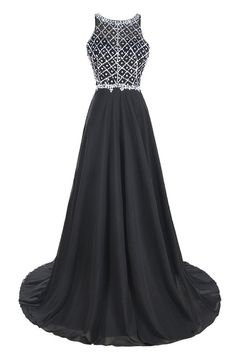 8b7b90abd97 Ellames Long Prom Dress A Line Halter Chiffon and Tulle Evening Dress Black  US…