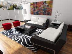 Sala comedor a diseño, muebles en cuerpo de cuero negro y cojines y respaldar blancos. Estilo black, acento de color rojo en los poufs, la alfombra le da dinamismo y movimiento al espacio :)