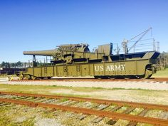 """Army 12""""/35 mount on railway it's the oldest remaining 12"""" gun and still is in firing condition. Photo by Tina Kern 4/9/17"""