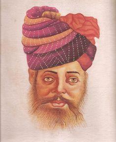 Rajasthani Miniature Painting Handmade Indian Rajput Turban Pagri Portrait Art