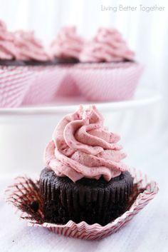 Dark Chocolate Cupcakes with Raspberry Vanilla Creme…