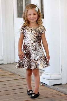 Sooooo pretty.... Dolls & Divas Tyler Silver/Gold Sequin Dress would be even cuter with petticoat underneath also