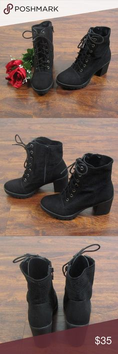 Report Black Lace Up Heel Ankle Boots Size 6.5 These beautiful boots are in excellent condition! As always offers and bundles are welcome. Feel free to add one or more items to a bundle for a private discount offer!!!  The approx. heel height is 3 inches  The approx. rise is 4.75 inches Report Shoes Ankle Boots & Booties