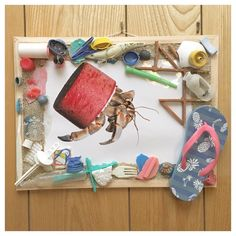 """Kirana's school project. """"Crabs with beach trash homes"""" We spend the day picking up trash on local beach. These are some of the items we found washed ashore. Okinawa-Japan. #crabswithbeachtrashhomes #hermitcrab #environmental #beachtrash #washedashore #trash#beachcleanup #okinawajapan #natgeo#trashonourbeaches#maketheswitch4nature"""