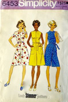 e7f231bb2d3 Simplicity 6453 Vintage 1974 Look Slimmer Pattern Misses  and Women  Pantdress