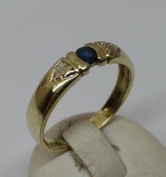 Vintage Ringe - Goldring 585 Saphir edles Design 18,3 mm alt GR185 - ein Designerstück von Atelier-Regina bei DaWanda