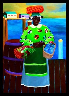 Ivey Hayes South Carolina Woman I African American Artist, Native American Art, African Art, American Artists, Ivan Rabuzin, Caribbean Art, Black Artwork, Unique Paintings, Tropical Art