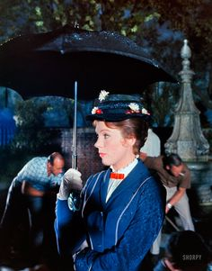 "Summer 1963. ""Julie Andrews on the set of the film Mary Poppins."" Kodachrome from photos by Earl Theisen for the Look magazine assignment ""Julie Andrews Goes to Hollywood."" Today, with the opening of Saving Mr. Banks, you can see the 2013 Hollywood version of the story behind the making of this 50-year-old Hollywood version of the 80-year-old P.L. Travers story."