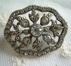 Antique Edwardian Silver and Old Cut Paste Brooch.