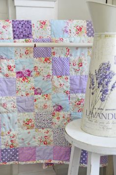 lavender and floral quilt